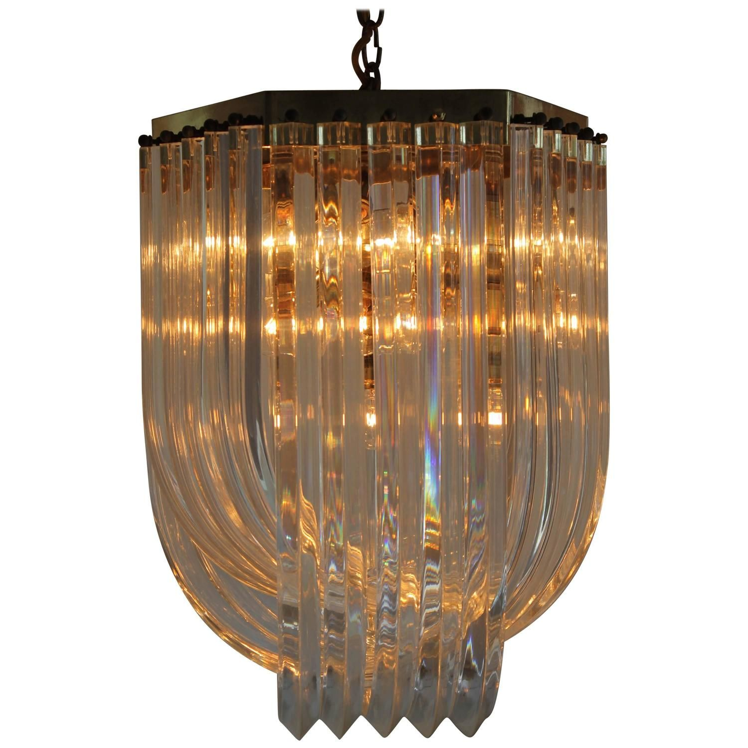 Vintage Brass and Lucite Ribbon Chandelier