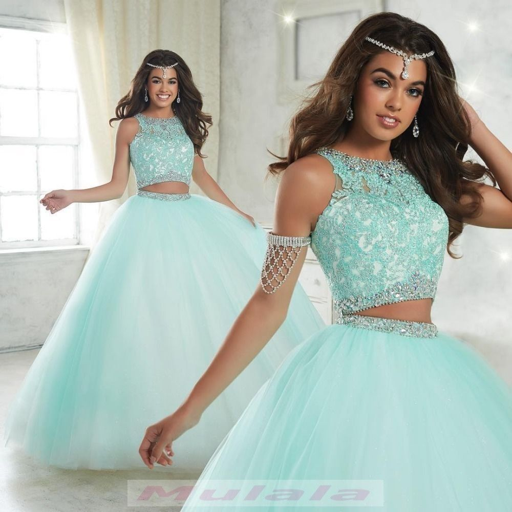 Ball Gown Long Sleeve Beaded Crystal Applique Watteau: Sky Blue Tulle Two Piece Quinceanera Dresses 2019 Crystal