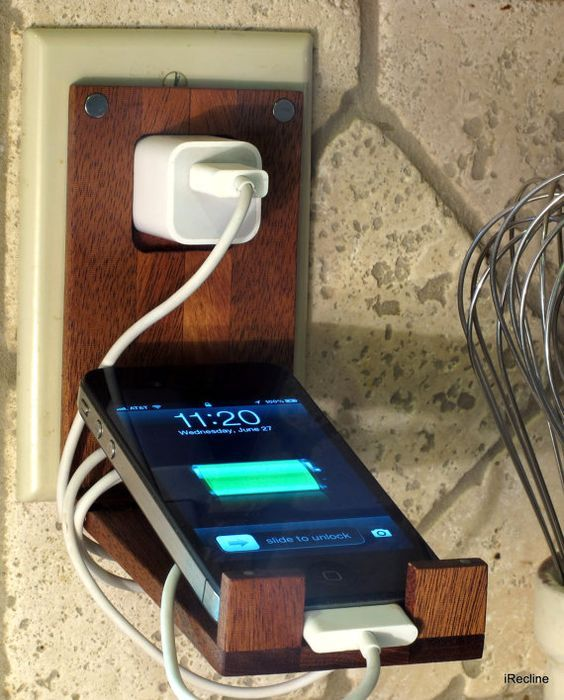 Wood iPhone Wall Socket Charger Holder by iRecline on Etsy, $39.00: