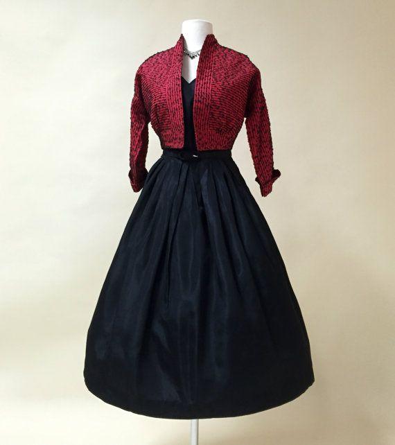 Jahrgang 1950 s Party Kleid... HARFORD FROCK Midnight Black Taft ...