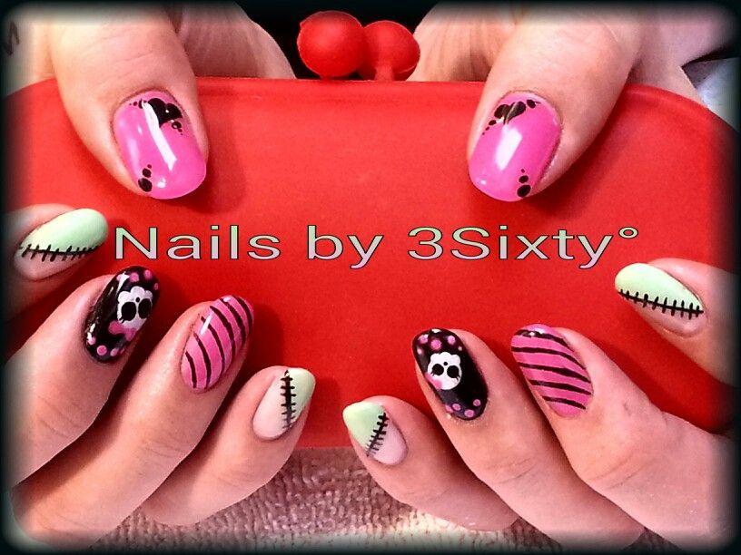 Monster High Nail art. All gel nail product. Bright and fun. Hand painted nail art. Pink, green and black gel polish. Masterworks Gel.