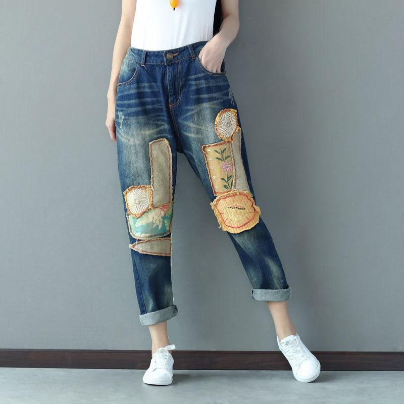 8455b14a46 Harajuku Vintage Retro Hippie Boho Pantalon Casual Elastic Waist Patchwork  Harem Denim Cotton Jeans Pants for Women Trousers