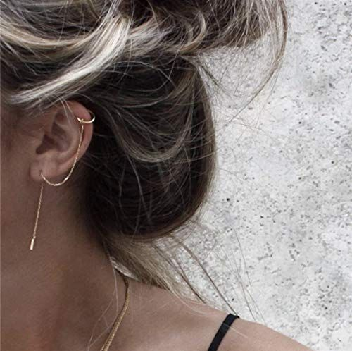 SLUYNZ 925 Sterling Silver Cuff Chain Earrings Wrap Tassel Earrings Crawler Earrings Color Color 2-Rose Gold