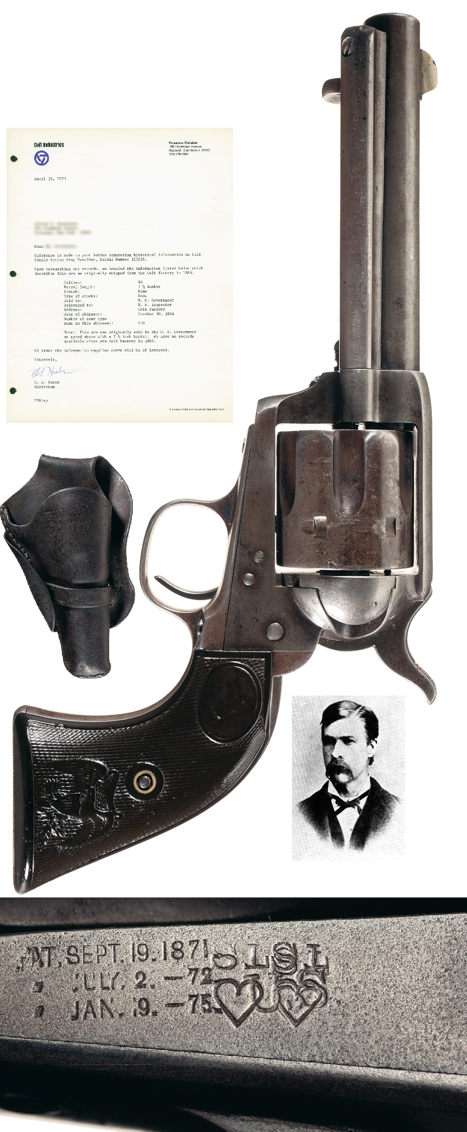 "Extremely Rare Historic ""Tombstone"" Colt Single Action Army Revolver with Samuel L. Hart markings and Spangenberg Tombstone, A.T. marked Loop Holster ."