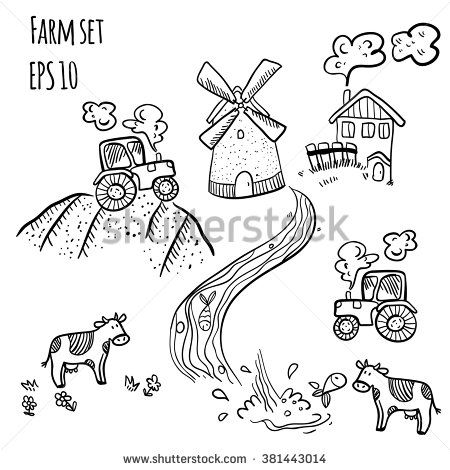 Stock Images Similar To Id 107354843 Doodle Style Sketch Of A Farm Doodles Doodle Inspiration Doodle Art