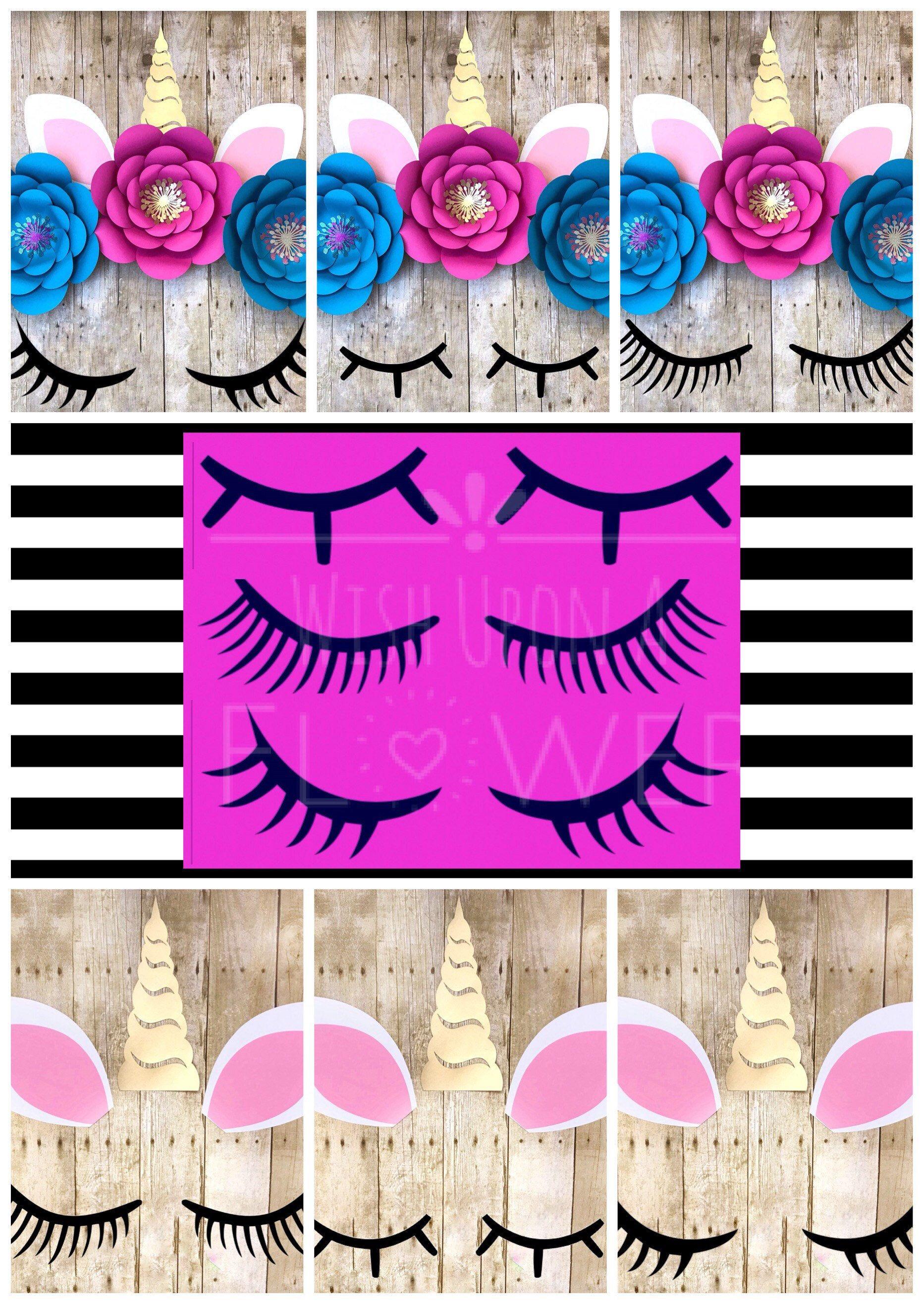 unicorn eyelash template  3 unicorn lashes  unicorn svg