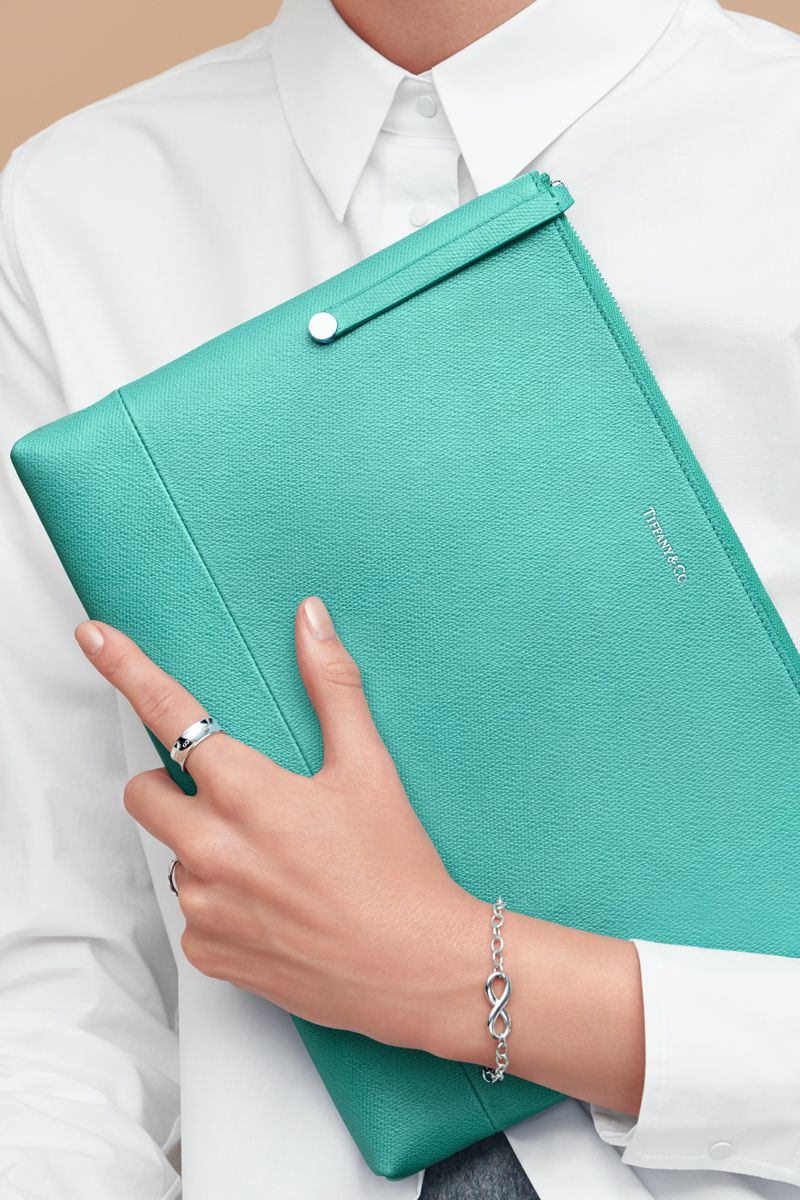 Sleek Simplicity Zip Pouch In Light Teal Textured Leather