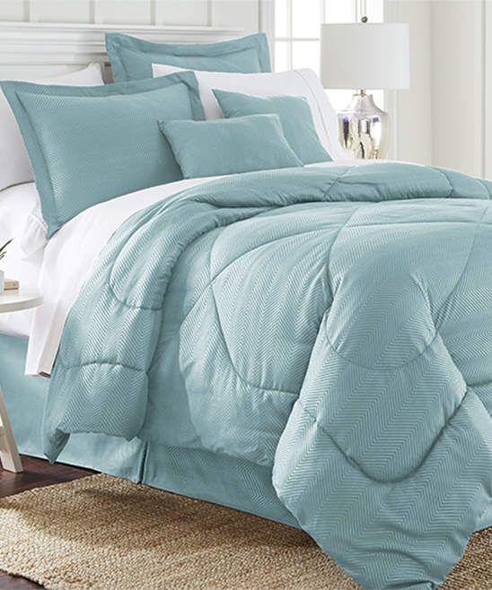 Blue 6 Piece Chevron Comforter Set
