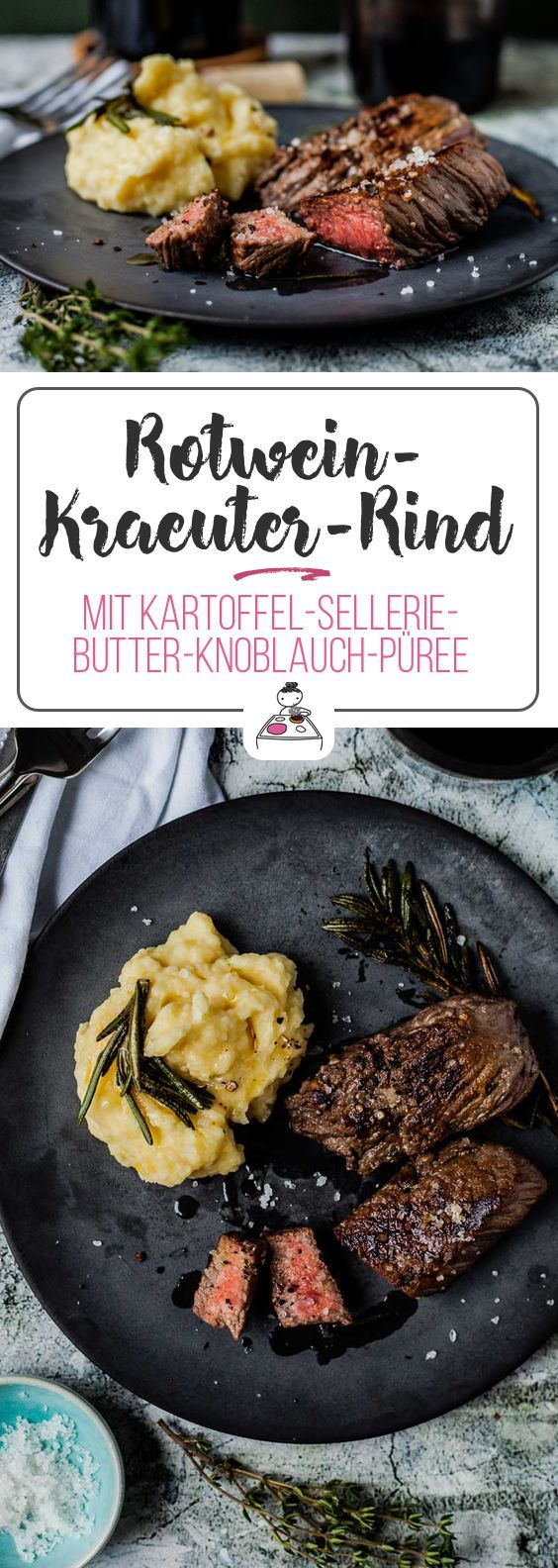 Photo of Red wine, herb and beef with potato and celery butter and garlic puree. Juchee! – Gourmet guerrilla