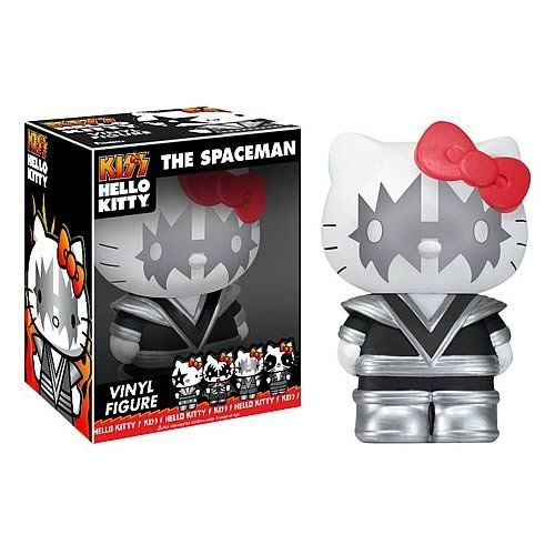 Funko Hello Kitty/Kiss - Spaceman Vinyl Figure by Funko. $10.38. Cute in leather. Collect them all. Lovable but not too soft. From the Manufacturer                Hello Kitty Kiss has finally arrived. These pop vinyl figures are adorable and ready to rock. The whole gang is here - Demon, Catman, Starchild and Spaceman are ready for your bedroom or office now.                                    Product Description                Fans of Hello Kitty and KISS, rejoice...