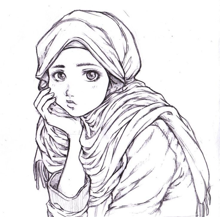 Thinking muslim girl drawing