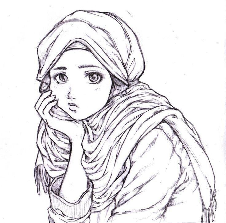 Thinking Muslim Girl Drawing Hijab Drawing Art Hijab
