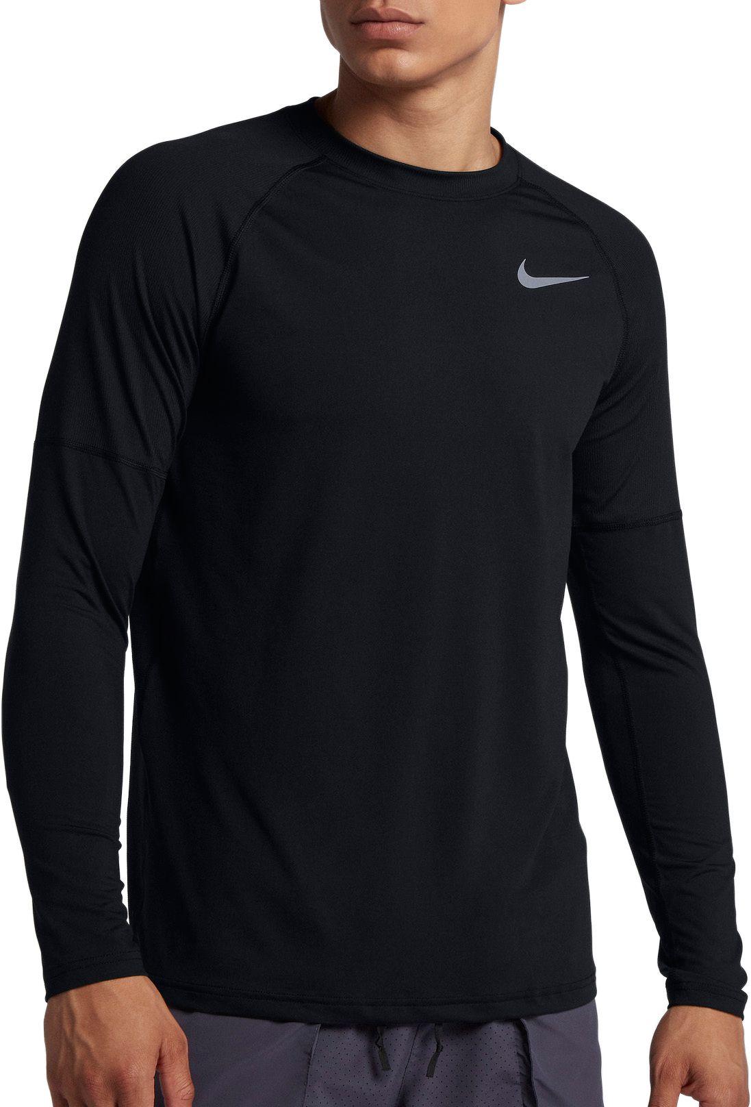 4b25490d Nike Men's Element Crew Running Long Sleeve Tee, Size: Small, Black ...