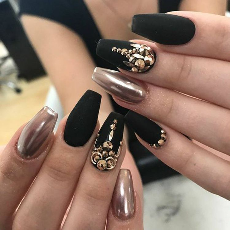 70 Matte Black Coffin Nail Ideas Trend In Cool 2019 Black Chrome Nails Gold Acrylic Nails Matte Nails Design