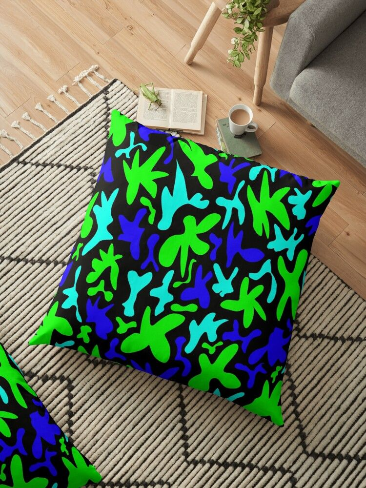 Abstract cute whimsical quirky playful funny shapes. Colorful cool fanciful stylish trendy design Floor Pillow
