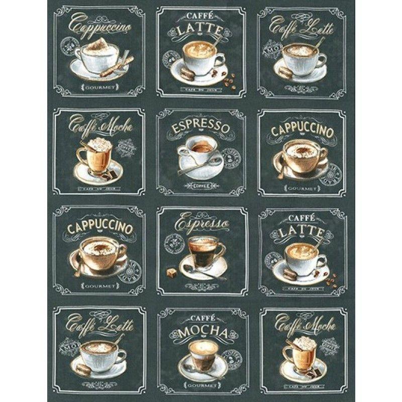 Robert Kaufman Metro Cafe 24 Panel Charcoal Fabric Depot Coffee Shop Menu Coffee Art Coffee Menu Design