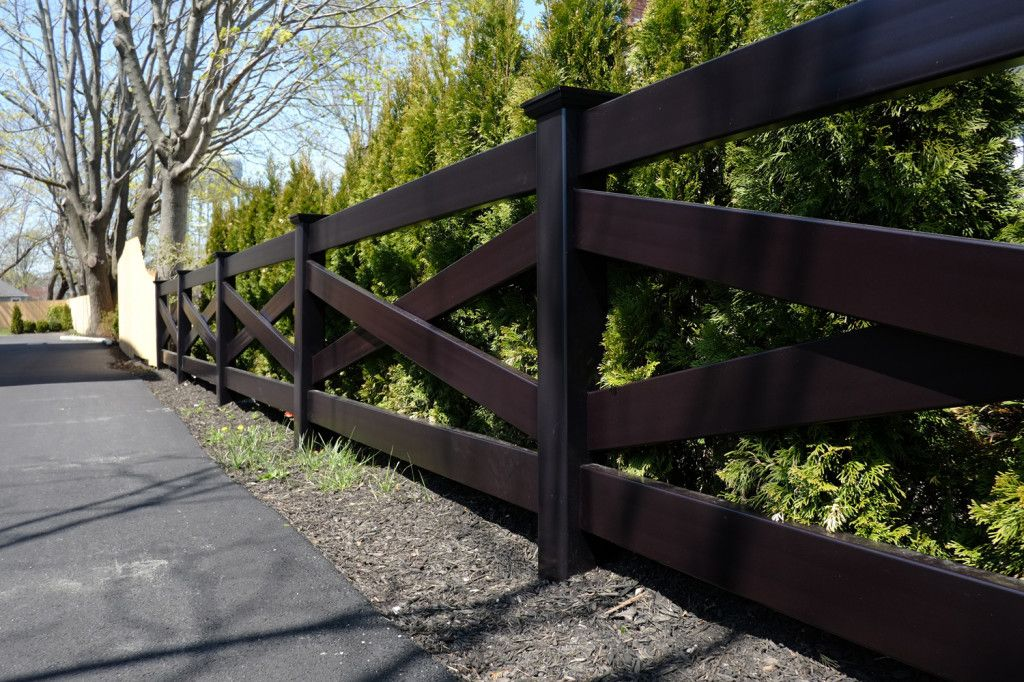Illusions Crossbuck Post And Rail Fence In Black Pvc Vinyl