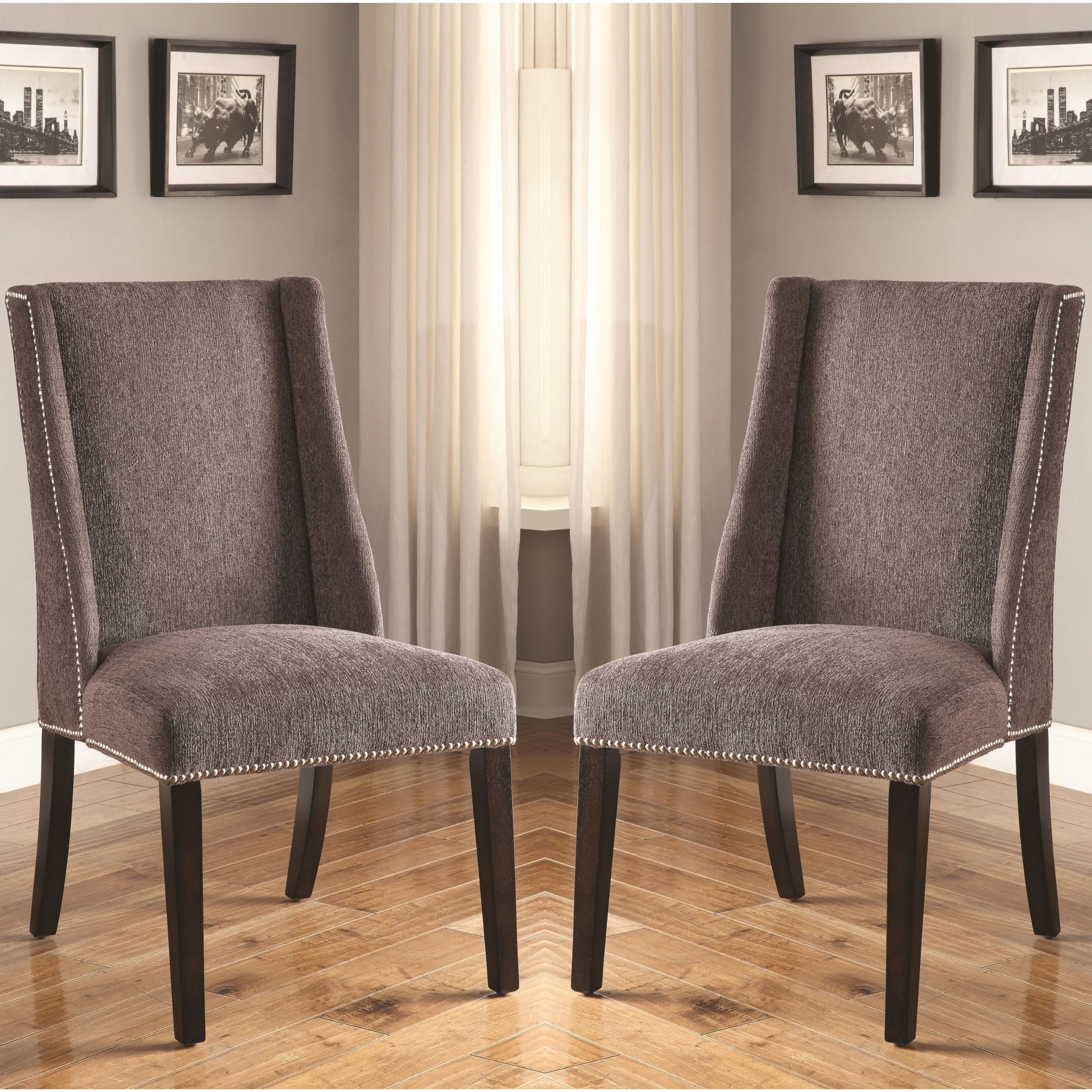 Decatur Wing Back Design Grey Upholstered Chairs With Nailhead
