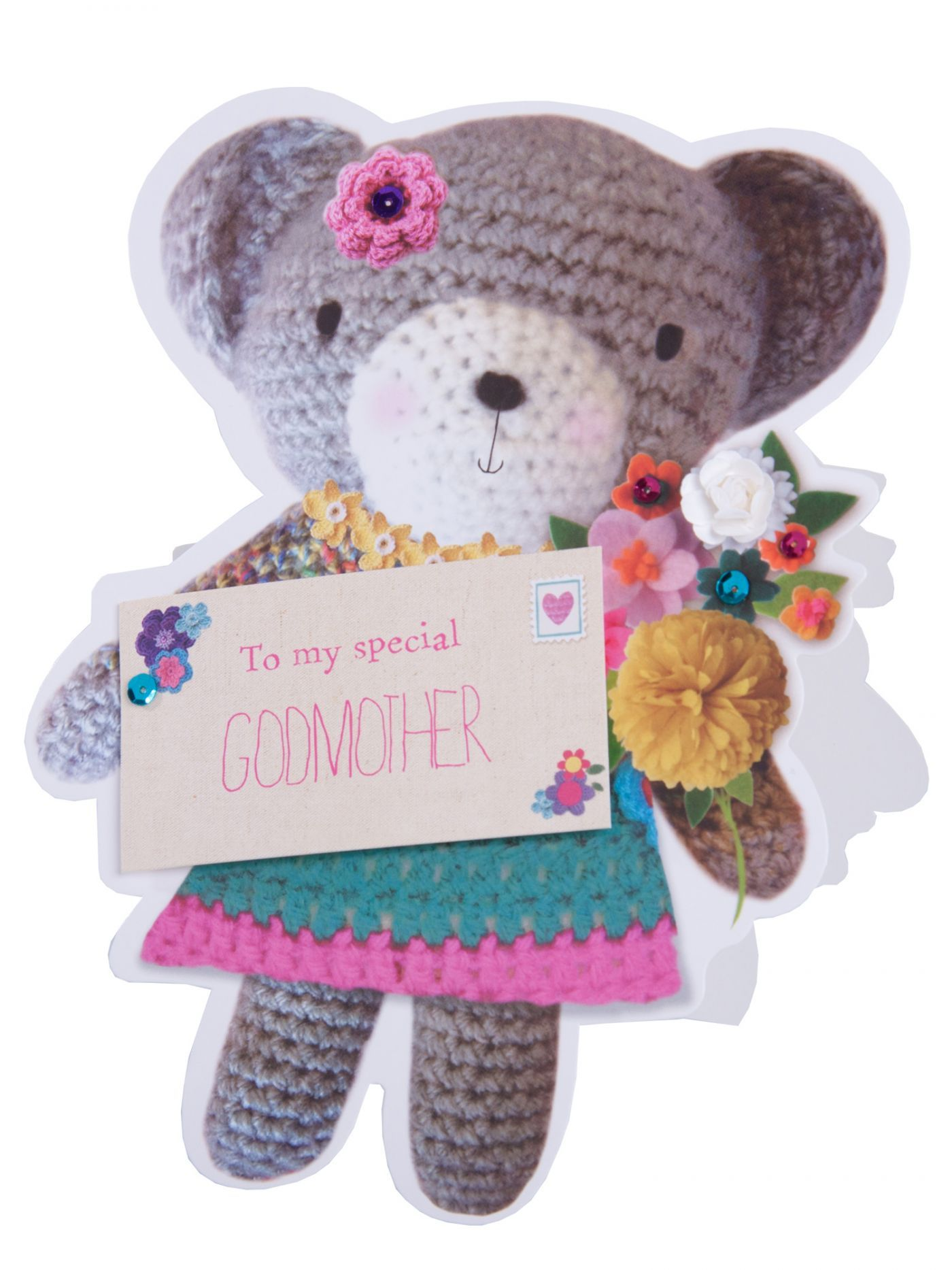 Cute Teddy Godmother Birthday Card