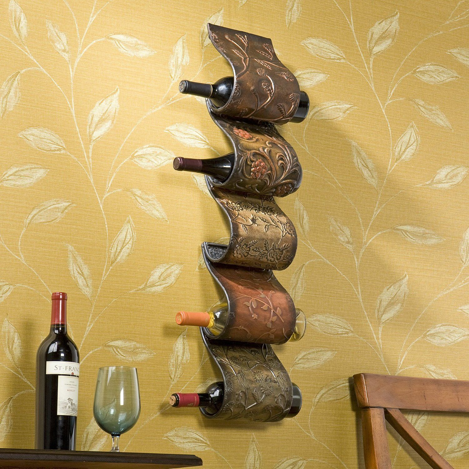 Florenz Wall Mount Wine Rack Sculpture - Metal Wine Rack Wall ...