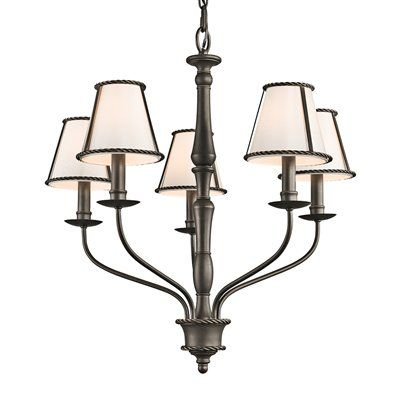 Kichler 43339 Donington Single Tier Candle Style Chandelier With 5 Lights Fully Covered By Limited Warranty Fixture Housing Is Constructed Of Steel
