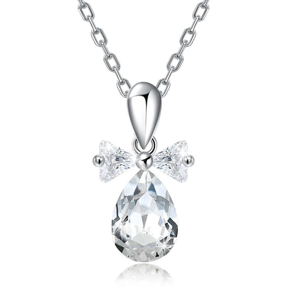 Solid Sterling Silver Quinceanera Gift Crystal Heart Necklace