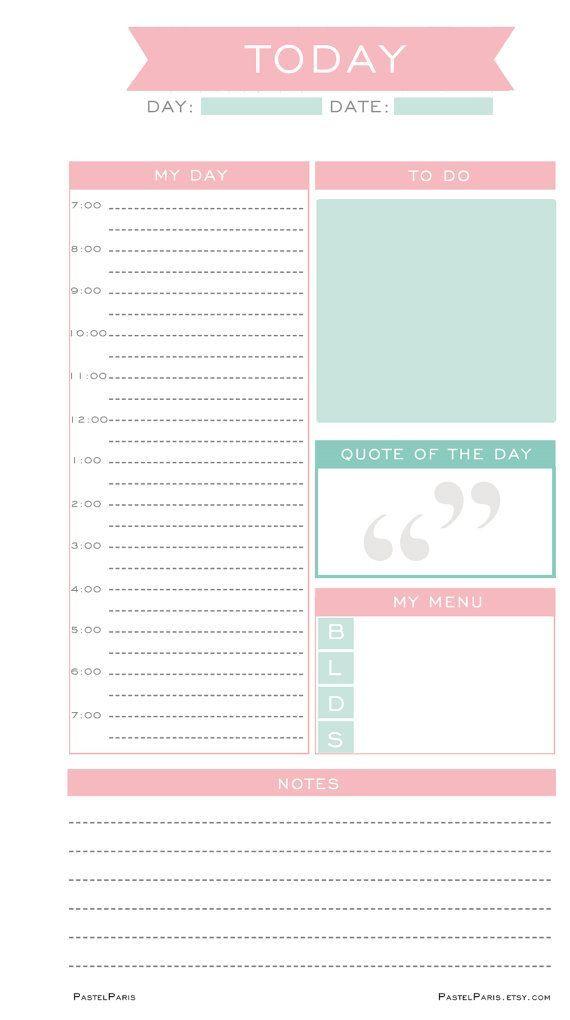 Daily Planner Insert Printable, Personal | PastelParis | Planner ...