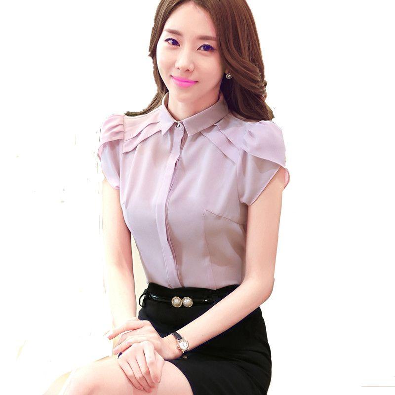 d178835ce Business Shirt Women office 2016 Fashion Summer Slim chiffon Blouse Elegant  Solid color Short Sleeve women tops Plus size blusas  Affiliate