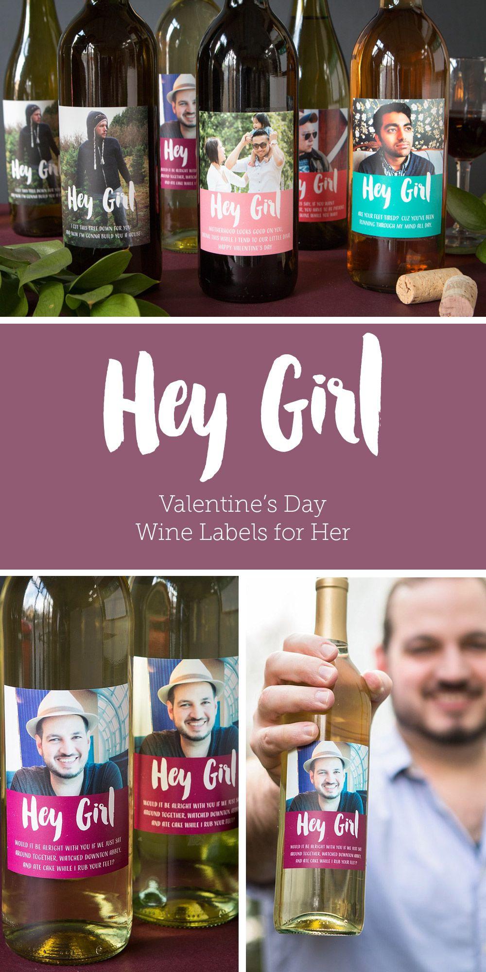 Hey Girl Ryan Gosling Meme Spoof Valentines Day Wine Labels
