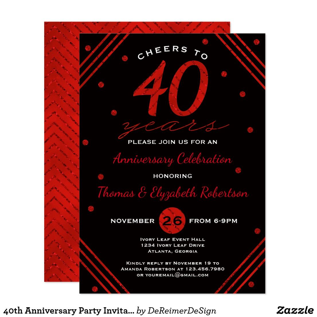 Awesome 40th Anniversary Party Invitations Photo - Invitations and ...