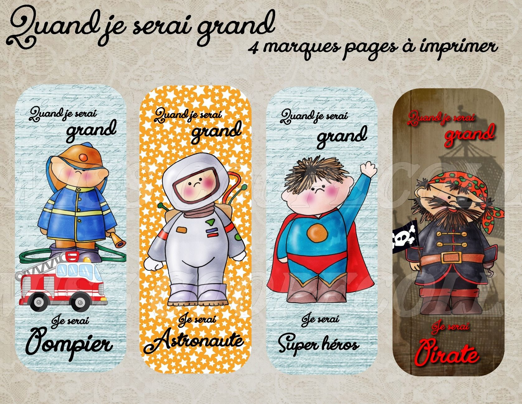 "Fabulous 4 marques pages à imprimer ""quand je serai grand"" images digitales  QW02"