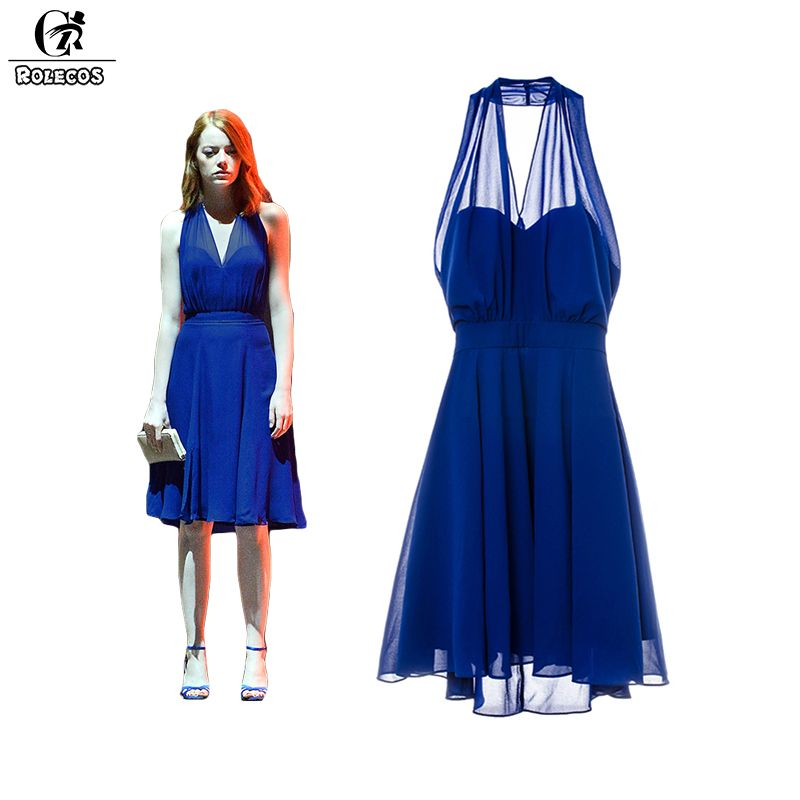 rolecos la la land emma stone mia cosplay costume blue backless elegant women long dresses v. Black Bedroom Furniture Sets. Home Design Ideas