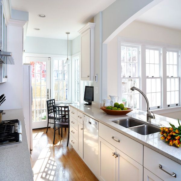 Townhouse galley kitchen remodel foxhall village for Galley kitchen designs photos