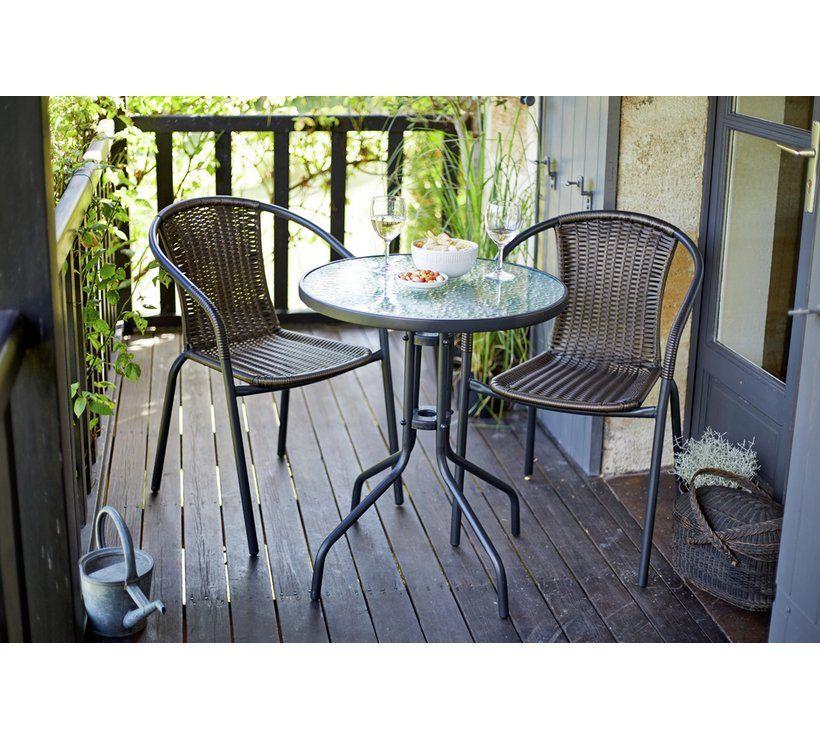 Buy Argos Home 2 Seater Rattan Effect Balcony Set - Brown ...