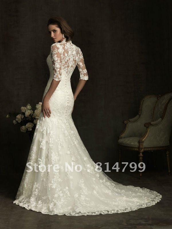cf5d9b558e76 Free shipping 2012 New Vintage Mermaid Floor Length Long V-neck Half Sleeves  Lace Wedding Dress Custom Bridal Gown
