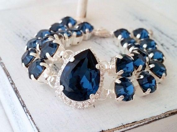Navy blue Swarovski crystals bracelet | Bridal bracelet by EldorTinaJewelry | http://etsy.me/1FvCyjX