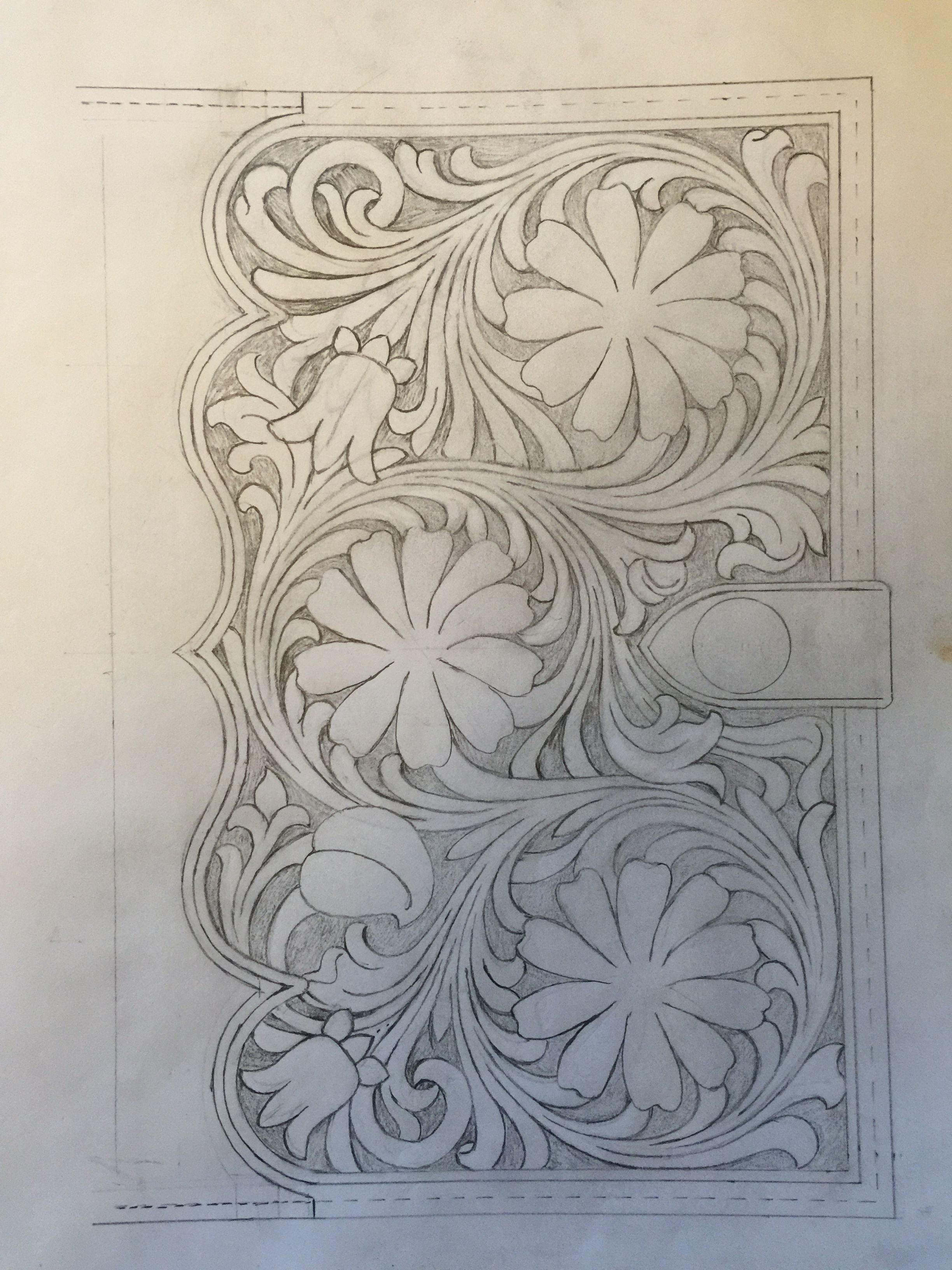 Sheridan Style Floral Flowers Leather Tooling Pattern For Bible