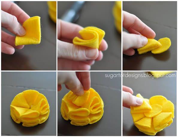 Aprenda fazer  flor de feltro para decoração