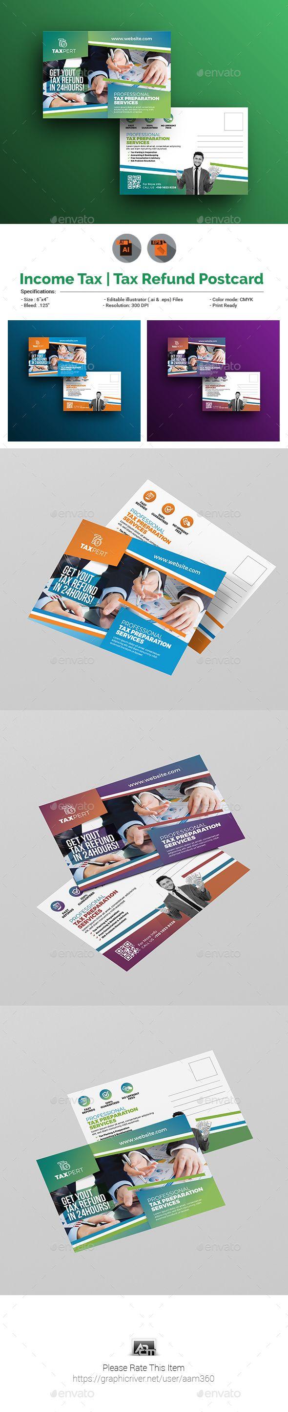 Income TaxTax Refund Postcard Template Postcard