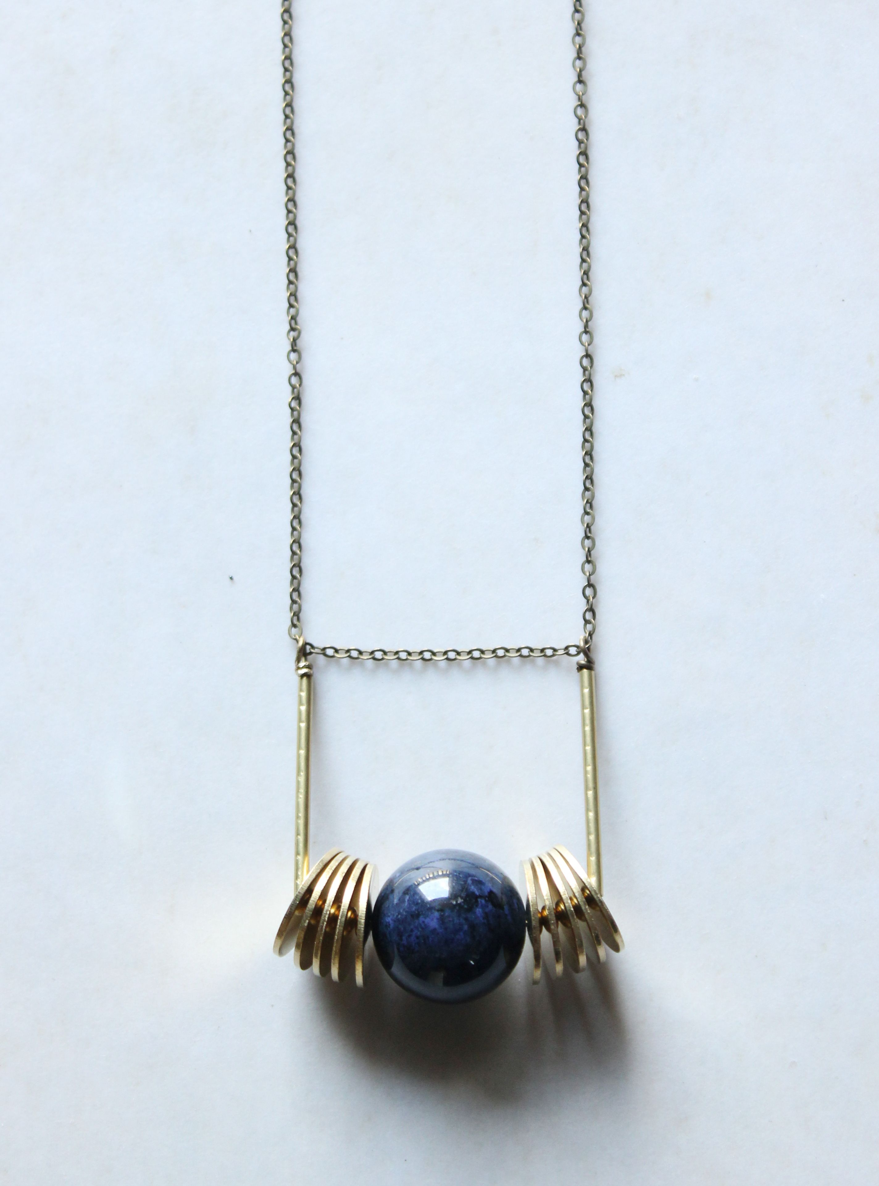 dumortierite jewelry blue orb necklace brass Geometric pendant