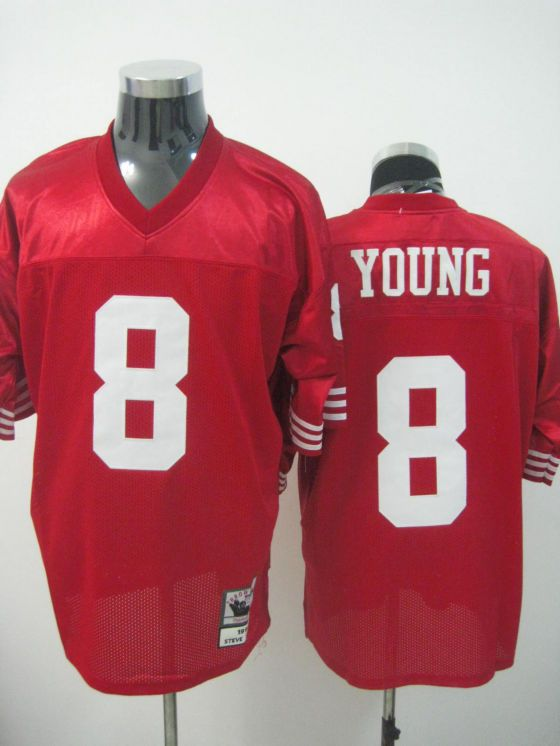 San Francisco 49ers  8 Steve Young Red Throwback NFL Stitched Replica Jersey  http   e68a9eaea