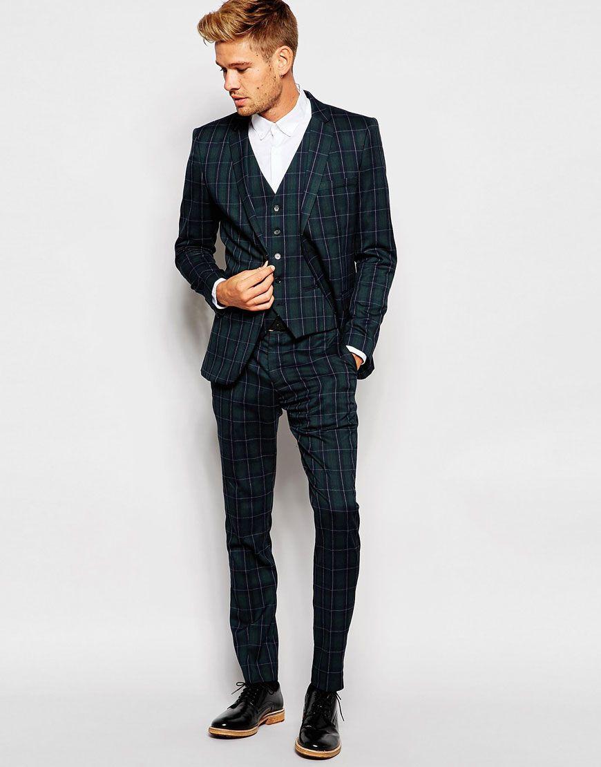 Selected Homme Exclusive Tartan Suit in Skinny Fit in Green