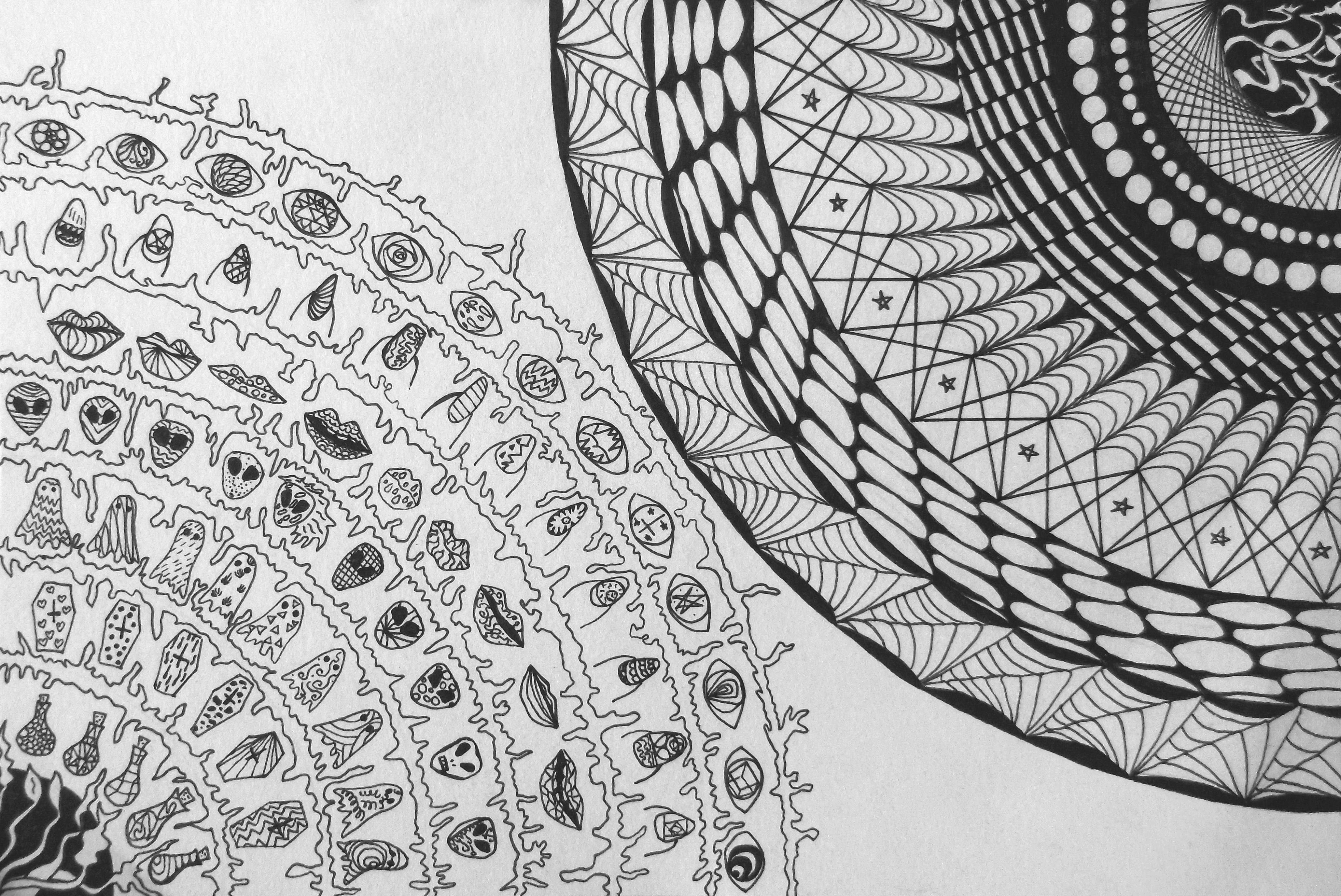 Circles Indian Ink Pen On Paper A5