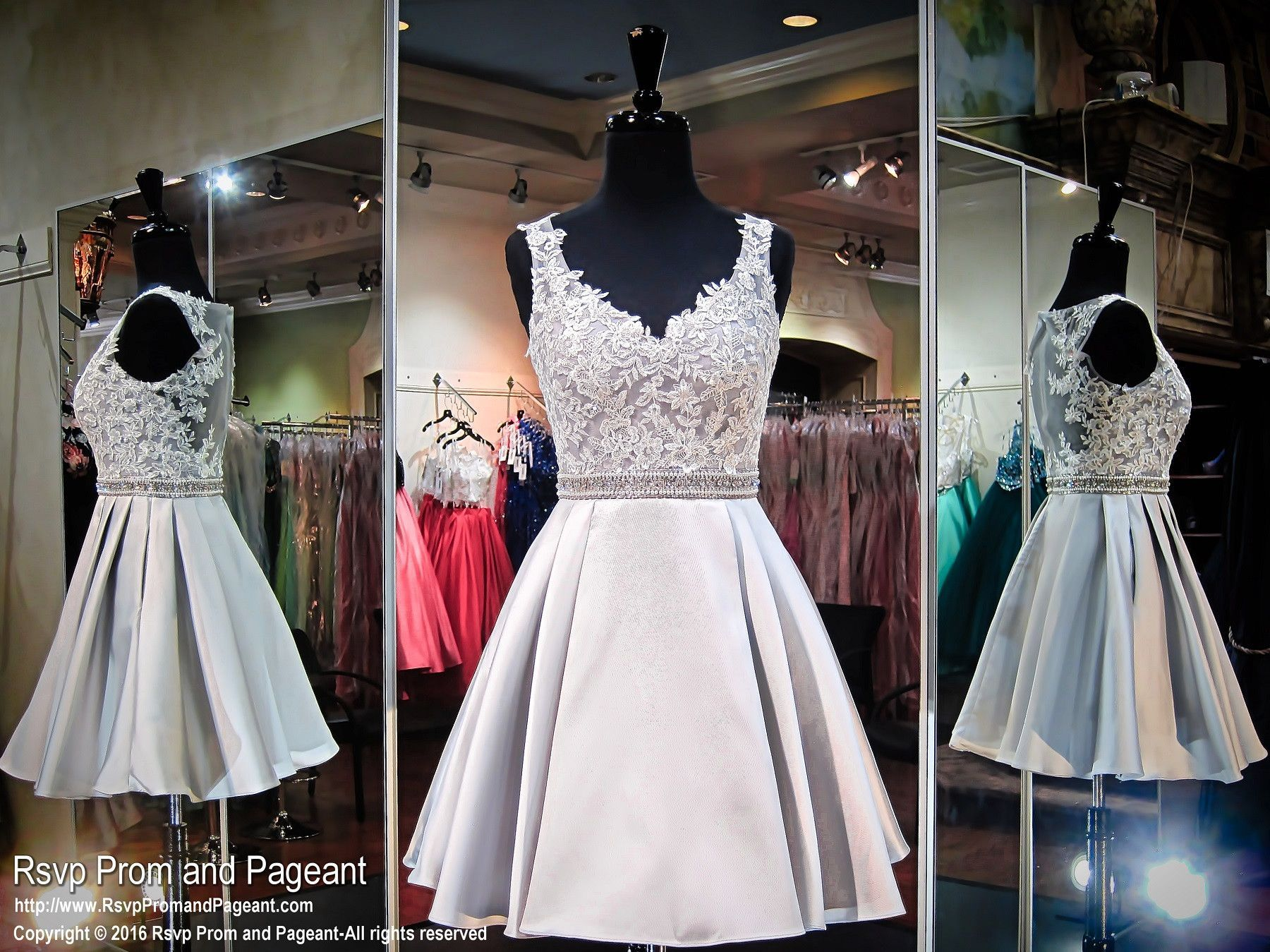 This stunning silver dress with a lace bodice is perfect to dance