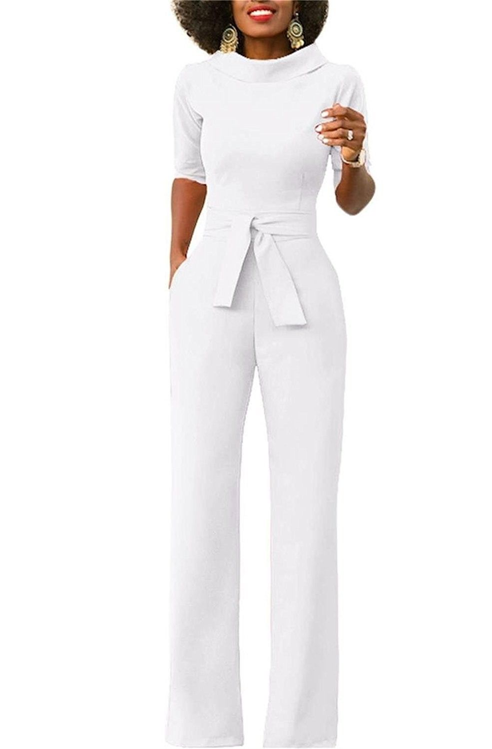 9207fe8a0bf Womens Elegant Wide Leg Work Jumpsuits Long Fitted Romper Pants Half ...
