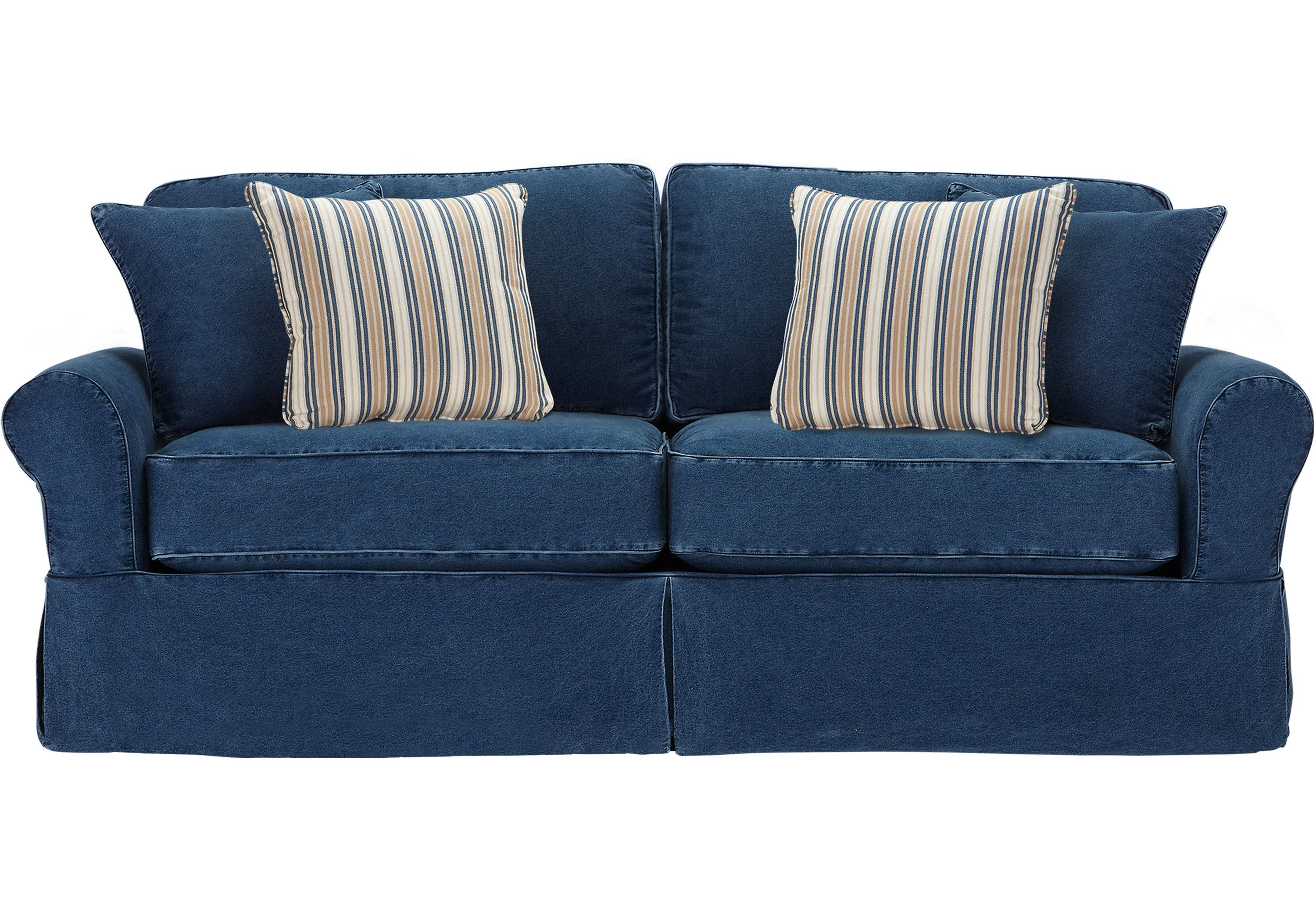 Best Cindy Crawford Home Beachside Blue Denim Sofa Sofas 400 x 300