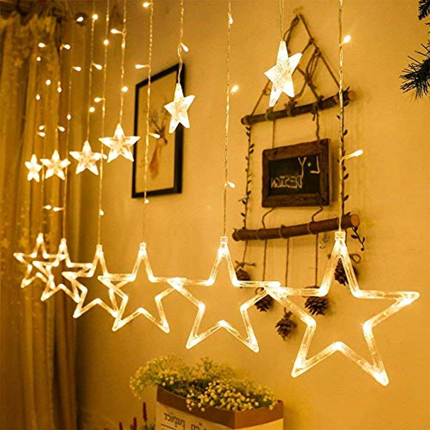 Christmas Home Led Stars Copper Wire Lights Wreaths Twinkle Lights Wedding Decor