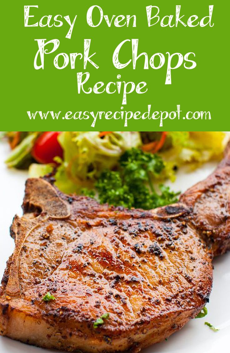Quick and easy recipe for oven baked pork chops. This recipe uses just the  basics to make an absolutely delicious pork chop right in the oven. 541a512a6d7