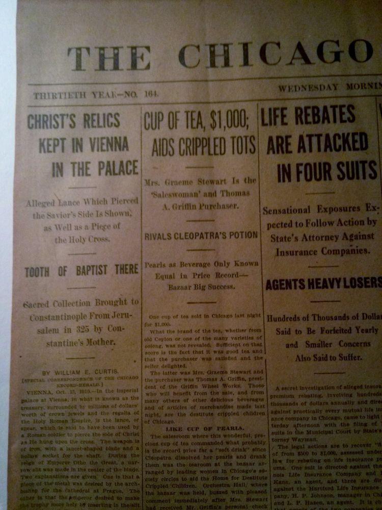 NOV 16, 1910 NEWSPAPER PAGE #4924- CHRIST'S RELICS KEPT IN