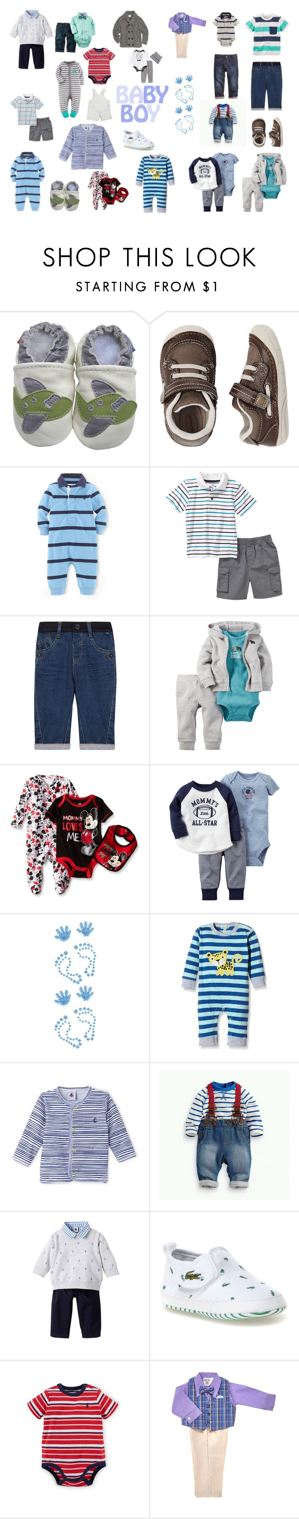"""Baby Boy"" by heather-amos918 ❤ liked on Polyvore featuring Stride Rite, Carter's, Ted Baker, Disney, Paul Frank, Lacoste, Egg Baby by Susan Lazar and Baby"
